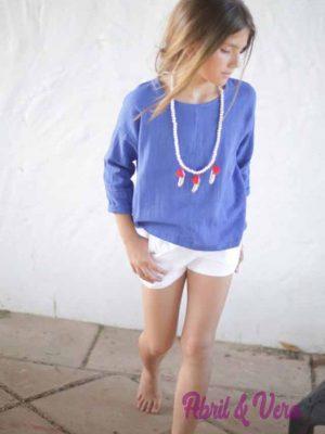 blusa lino azul pilar batanero