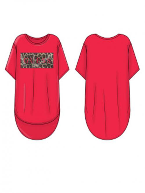 camiseta guess manga corta rosa letras