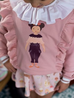 conjunto sudadera muñeca niña G y falda cromo tull_1